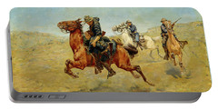 Portable Battery Charger featuring the painting My Bunkie by Charles Schreyvogel
