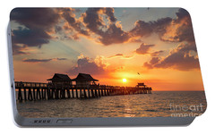 Portable Battery Charger featuring the photograph Naples Pier At Sunset by Brian Jannsen