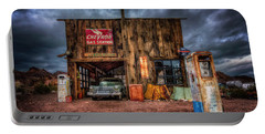 Nelson Nevada, Weathered Garage, Car, And Gas Pump Portable Battery Charger