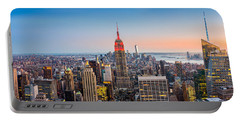 New York Skyline Panorama Portable Battery Charger by Mihai Andritoiu