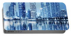 Night Scenes Of City Portable Battery Charger by Setsiri Silapasuwanchai