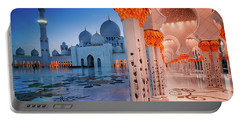 Night View At Sheikh Zayed Grand Mosque, Abu Dhabi, United Arab Emirates Portable Battery Charger