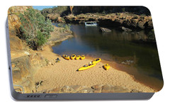 Portable Battery Charger featuring the photograph Nitmiluk Gorge Kayaks by Tony Mathews