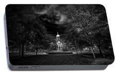 Notre Dame University Black White Portable Battery Charger by David Haskett