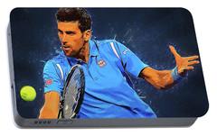 Novak Djokovic Portable Battery Charger by Semih Yurdabak