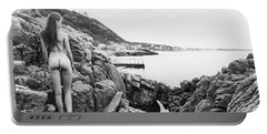 Nude Girl On Rocks Portable Battery Charger