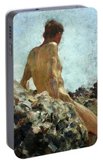 Portable Battery Charger featuring the painting Nude Study by Henry Scott Tuke