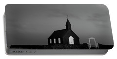 Old Countryside Church In Iceland Portable Battery Charger