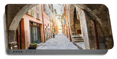 Old Street In Villefranche-sur-mer Portable Battery Charger