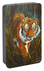 Portable Battery Charger featuring the painting Out Of The Woods by Beatrice Cloake