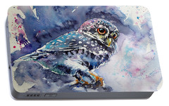 Owl At Night Portable Battery Charger by Kovacs Anna Brigitta