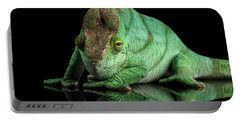 Parson Chameleon, Calumma Parsoni Orange Eye On Black Portable Battery Charger by Sergey Taran