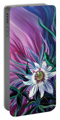 Passion Flower Portable Battery Charger by Nancy Cupp