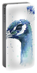 Peacock Watercolor Portable Battery Charger