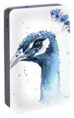 Peacock Watercolor Portable Battery Charger by Olga Shvartsur