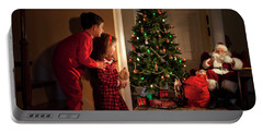 Peeking At Santa Portable Battery Charger by Diane Diederich