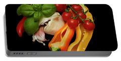 Portable Battery Charger featuring the photograph Peppers Basil Tomatoes Garlic by David French