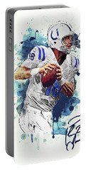 Portable Battery Charger featuring the digital art Peyton Manning by Taylan Apukovska