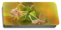 Phengaris Teleius Butterfly On Honeysuckle Flowers Portable Battery Charger