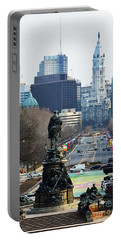Philadelphia - The Parkway Portable Battery Charger by Cindy Manero