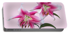 Pink And White Ot Lilies Portable Battery Charger