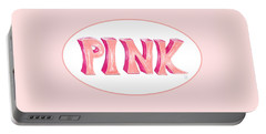 Portable Battery Charger featuring the drawing Pink by Cindy Garber Iverson
