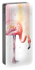Pink Flamingo - Facing Right Portable Battery Charger