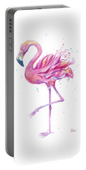 Pink Flamingo Watercolor Portable Battery Charger