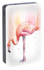 Pink Flamingo Watercolor Rain Portable Battery Charger by Olga Shvartsur