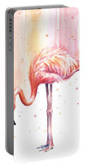 Pink Flamingo Watercolor Rain Portable Battery Charger