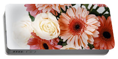 Pink Gerbera Daisy Flowers And White Roses Bouquet Portable Battery Charger by Radu Bercan