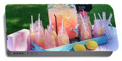 Pink Lemonade At Picnic In Park Portable Battery Charger