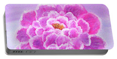 Portable Battery Charger featuring the painting Pink Peony by Sonya Nancy Capling-Bacle