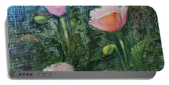 Portable Battery Charger featuring the painting Pink Poppies by Judy Fischer Walton