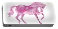 Portable Battery Charger featuring the mixed media Pink Unicorn by Elizabeth Lock