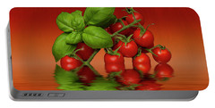 Portable Battery Charger featuring the photograph Plum Cherry Tomatoes Basil by David French