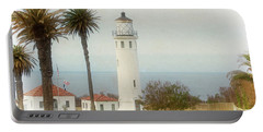 Point Vincente Lighthouse, California In Retro Style Portable Battery Charger