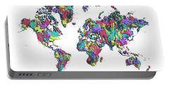 Portable Battery Charger featuring the digital art Pop Art World Map - Splashes by Melanie Viola
