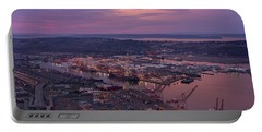 Port Of Seattle Sunrise Portable Battery Charger by Mike Reid