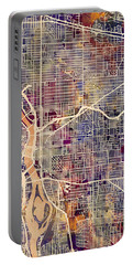 Portable Battery Charger featuring the digital art Portland Oregon City Map by Michael Tompsett