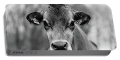 Portrait Of A Dairy Cow In The Rain Stowe Vermont Portable Battery Charger