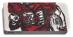 Portable Battery Charger featuring the drawing Priest Holmes 2 by Jeremiah Colley