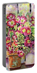 Primroses In Pots Portable Battery Charger