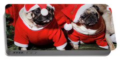 Pugs Dressed As Father Christmas Portable Battery Charger