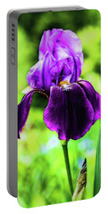Portable Battery Charger featuring the photograph Purple Iris by Jessica Manelis