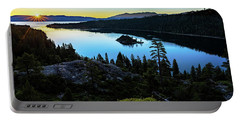 Radiant Sunrise On Emerald Bay Portable Battery Charger