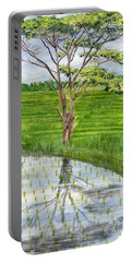 Portable Battery Charger featuring the painting Rain Tree On The Way To Ubud Bali Indonesia by Melly Terpening