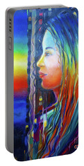 Portable Battery Charger featuring the painting Rainbow Girl 241008 by Selena Boron