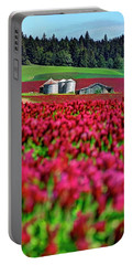 Portable Battery Charger featuring the photograph Red Clover Bins Barn 34x46 by Jerry Sodorff