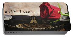 Red Rose On Typewriter Portable Battery Charger by Anastasy Yarmolovich